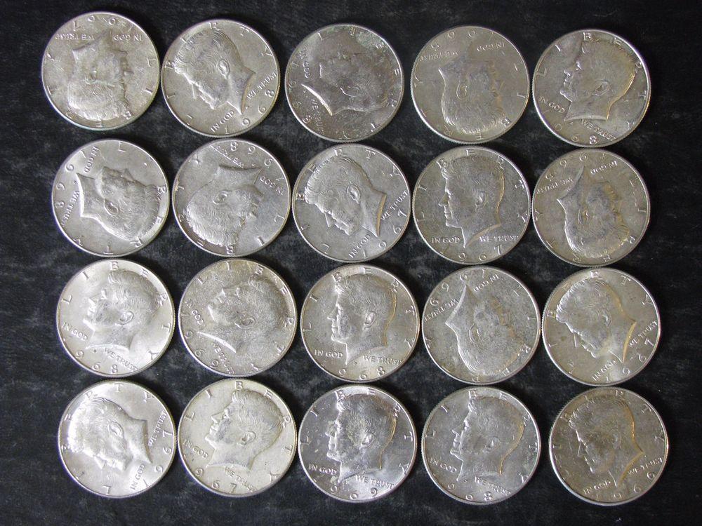 LOT OF 10 1965-1969 40/% SILVER KENNEDY HALF DOLLARS