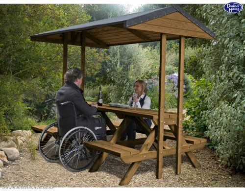 Dunster house wooden outdoor picnic table bench garden for Wheelchair accessible picnic table plans