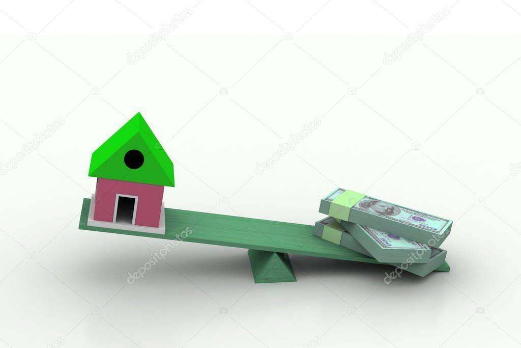 Real Estate Finance Illustration White Background  Stock Photo