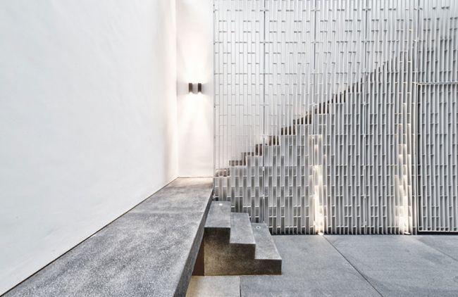 Familienhaus Architektur Bodenleuchten Treppenhaus Granit Boden