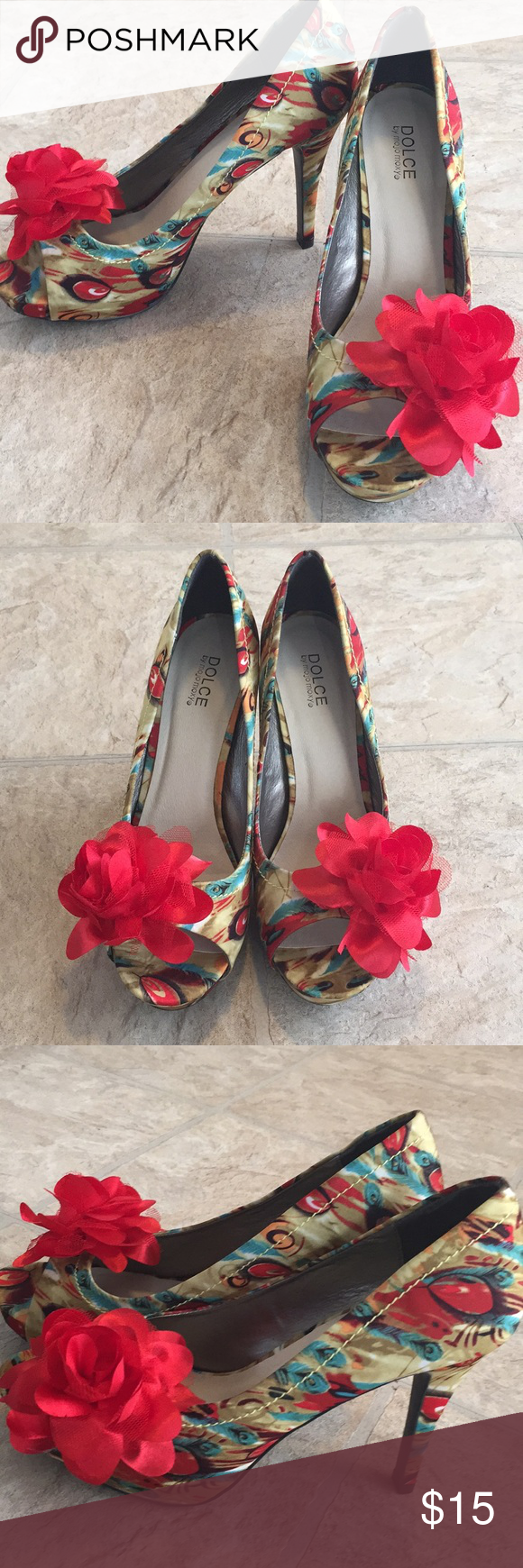 Beautiful dolce by mojo Moxy ladies stilettos In excellent used condition no scuffs or stains. Brightly colored peacock design with a big red flower dolce by mojo moxy Shoes Heels