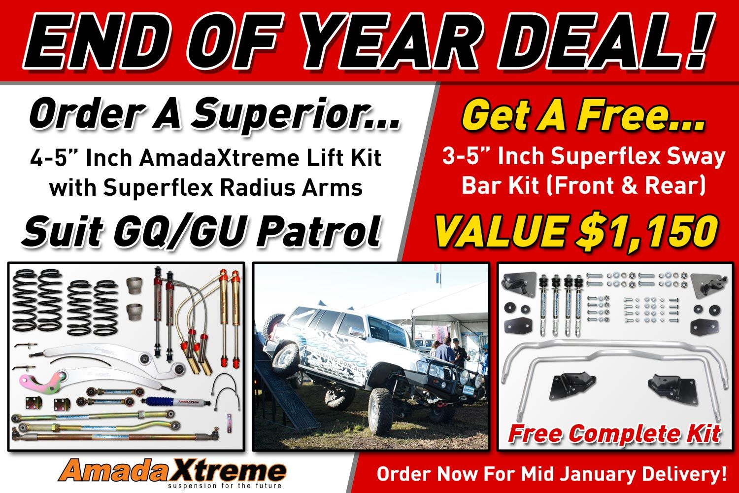"""End of Year Deal for GQ & GU Nissan Patrols!  Order a 4-5"""" Inch AmadaXtreme Lift Kit with Superflex Radius Arms... and you get a FREE 3-5"""" Inch Superflex Sway Bar Kit (Front & Rear) VALUED at $1,150.00.  Order Now For Mid January Delivery! Limited Time Offer.  GQ Patrol Lift Kit: http://goo.gl/11Vd8T GU Patrol Lift Kit: http://goo.gl/En4GkW  GQ Patrol Sway Bar Kit: http://goo.gl/WWHM9O GU Patrol Sway Bar Kit: http://goo.gl/F7yQw2"""