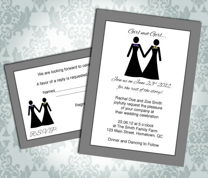 Lesbian Wedding Invitation Commitment Ceremony Girl Two Brides