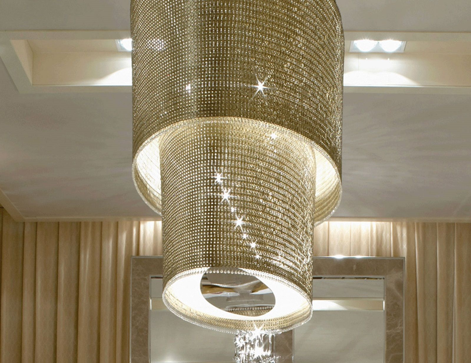 Signature Collection: Special Order Design: Grand Oval Tiered Swarovski  Crystal Chainmail Chandelier * Pricing By Quotation