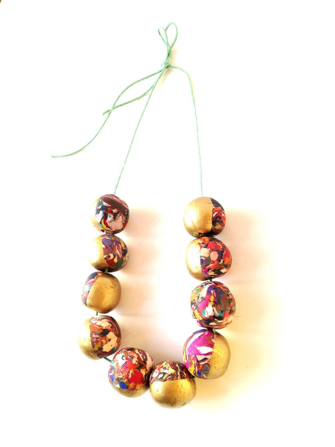 70a681ba5c367 Necklace HALF GOLD, half rainbow, large beads, mint colored tie on ...