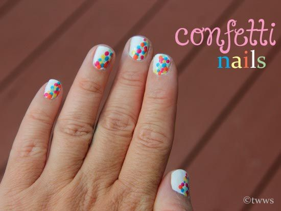 Confetti Nails...cute and easy.  Would be great as a pedicure too!!