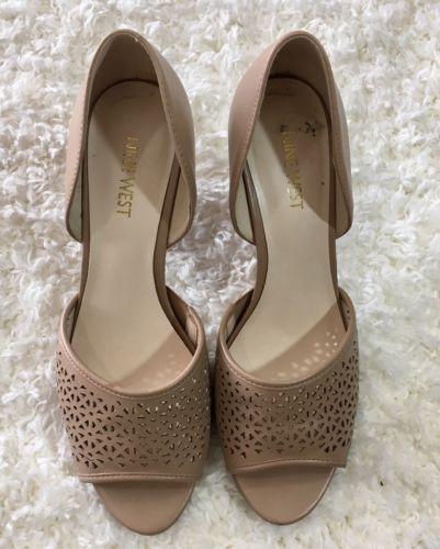 d64fd517eb9d Women s Nine West Daria Open Toe Nude Tan Blush Slip On Heels Shoes Size 8
