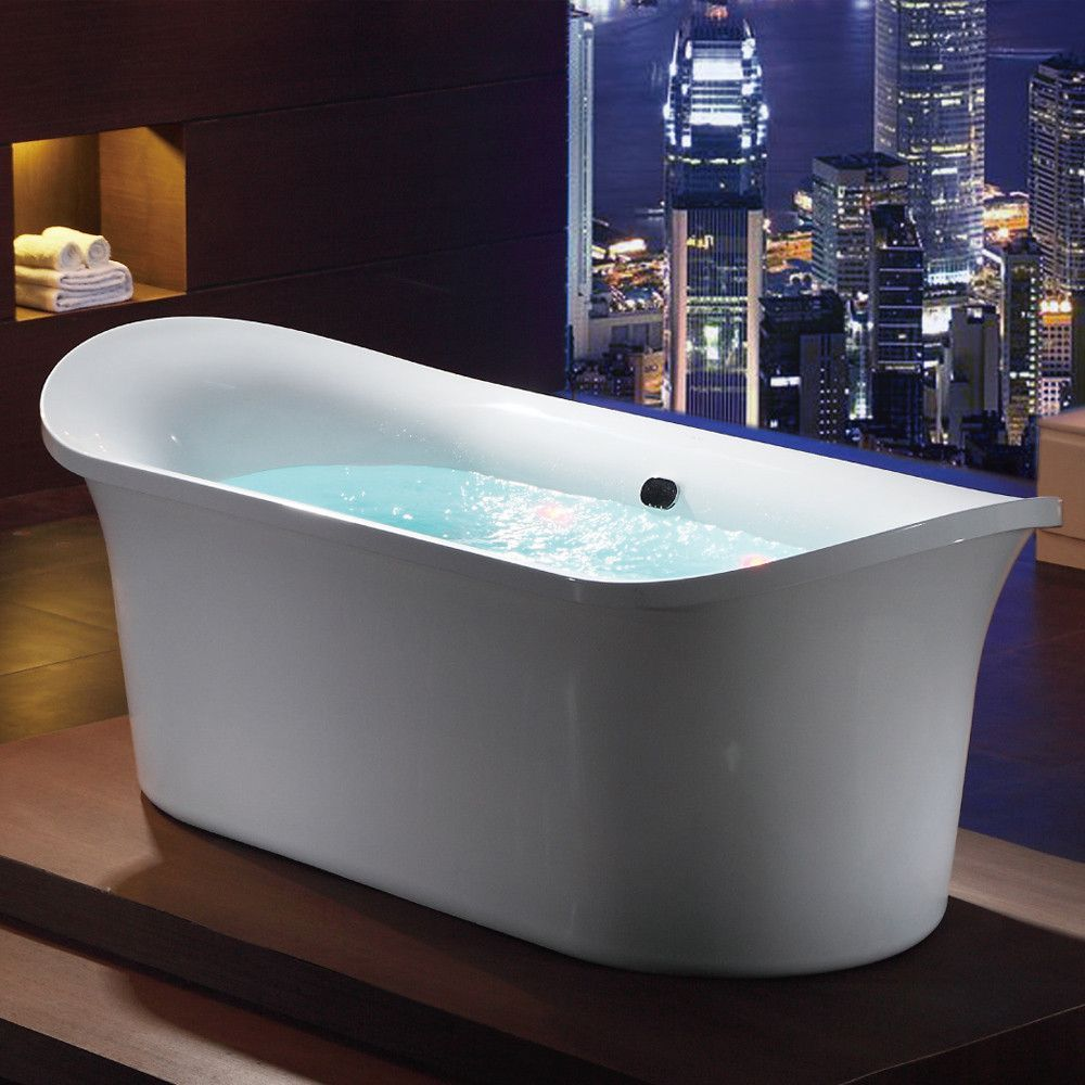 BUY EAGO AM1900 74 3/4 Inch White Free Standing Air Bubble Bathtub ...
