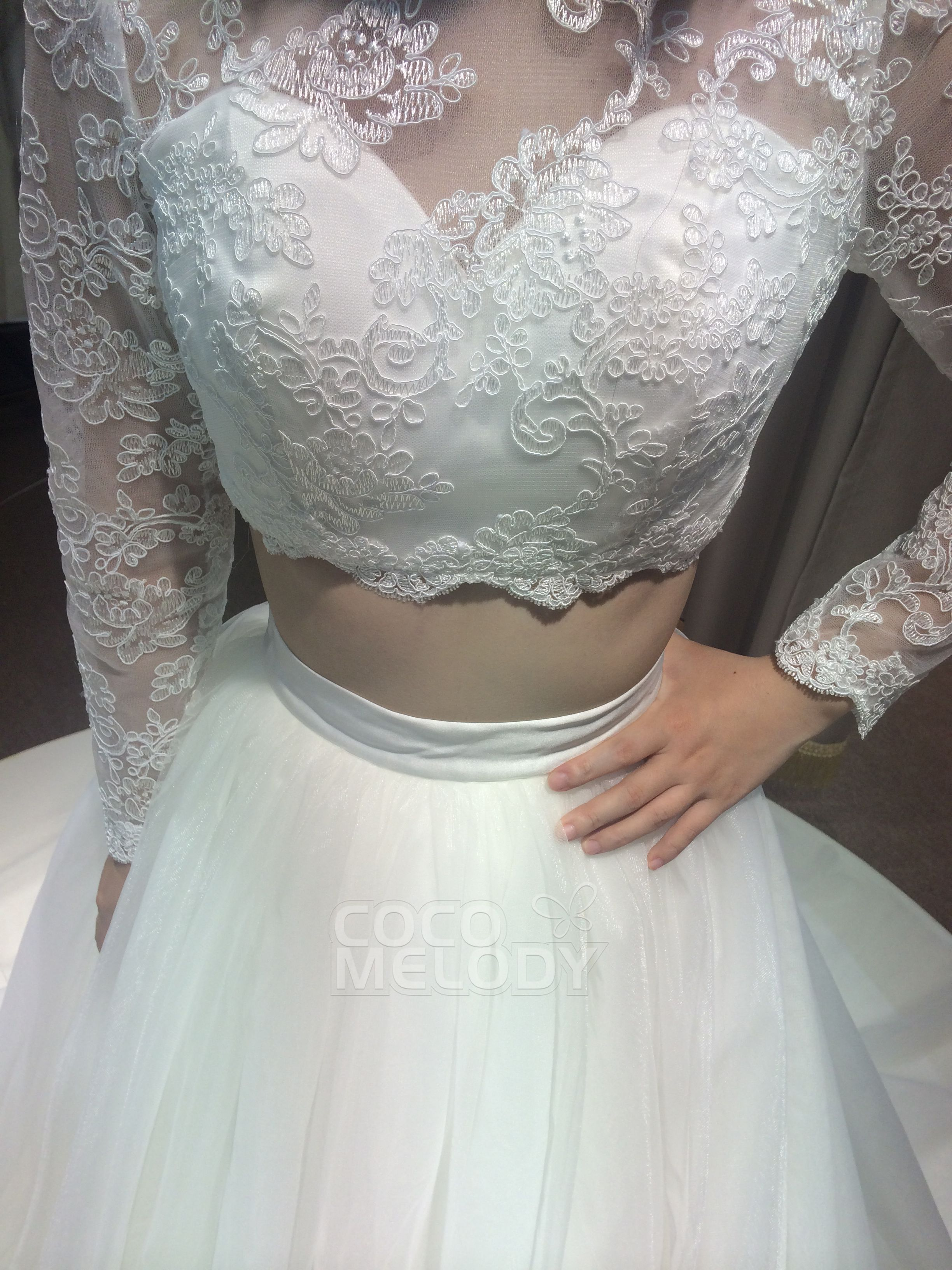 Stylish crop top illusion natural court train tulle violet long