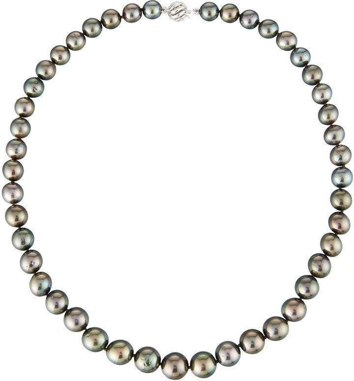 Belpearl 14k Black Tahitian Pearl Necklace, 9-11mm - 18L