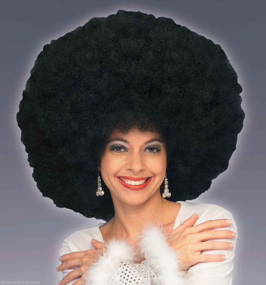 Black 70s Afro Wig Large Fro Adults Curly Coedy Fancy Dress Accessory