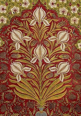 Mughal Empire Floral Tent Hanging Printed Painted And Dyed Cotton Early Cent VA Museum