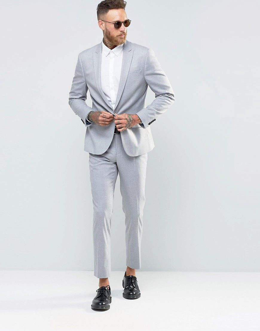e3c8eb3ae9b Image 1 of River Island Slim Fit Suit In Light Grey