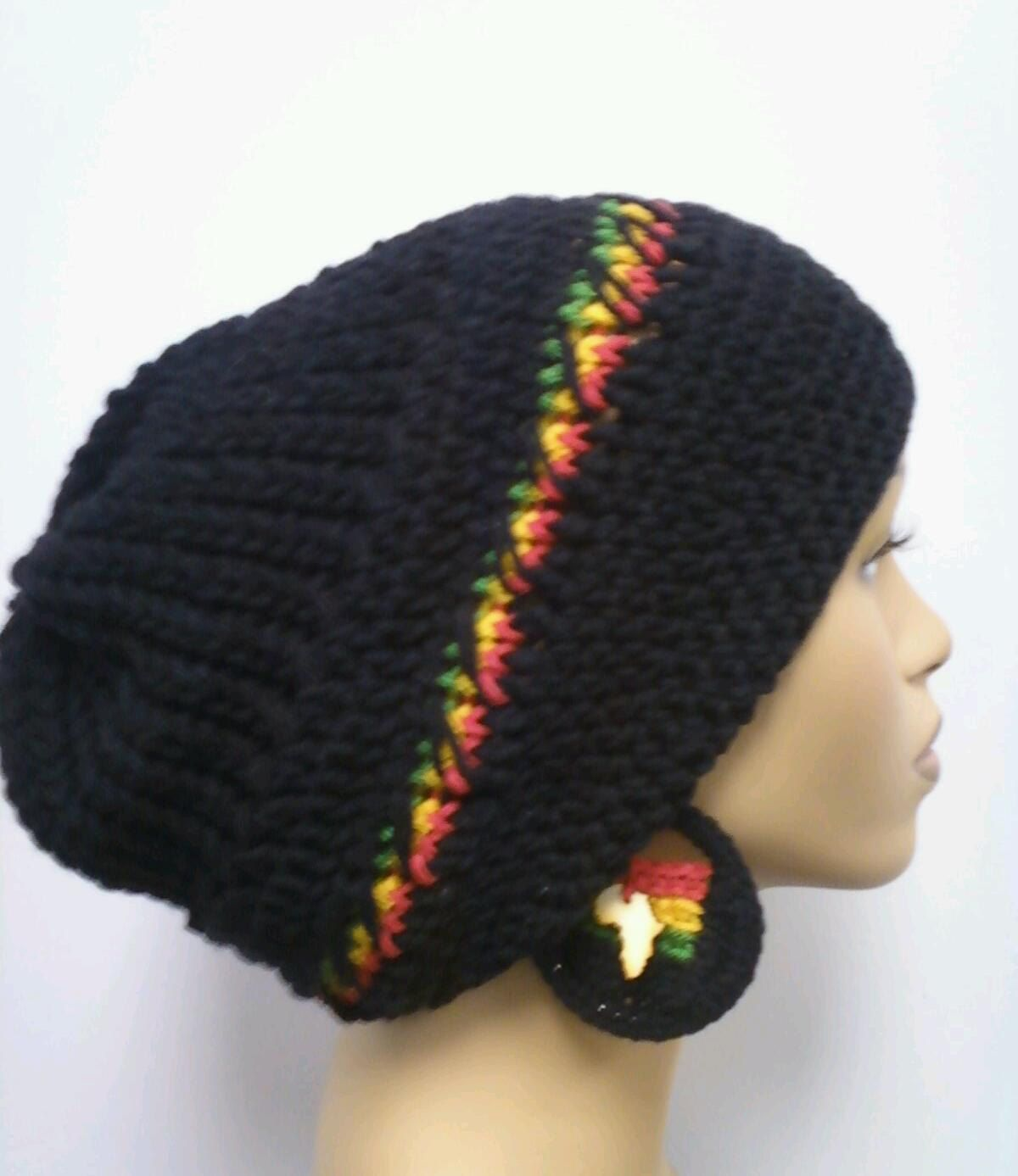 Black slouch hat, Dreadlock hat with rasta stripes Red Gold and ...