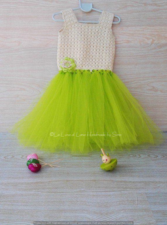 Abito bambina o neonata ad  uncinetto e tulle Tutù dress -Party Dress -  abito tutù -, by La Luna di Lana - Handmade by Simo, 45,00 € su misshobby.com