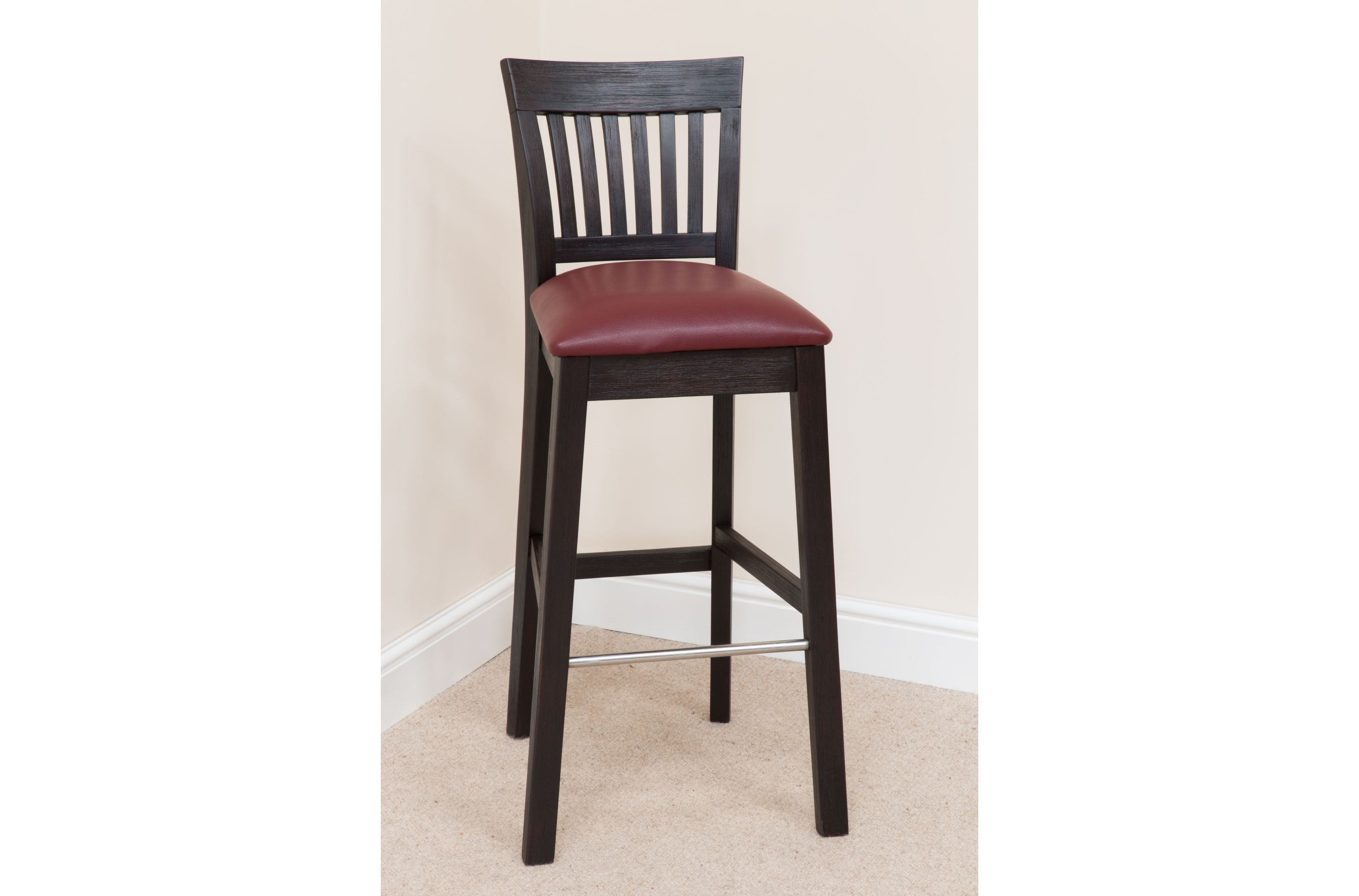 Furniture Extra Tall Bar Stool With Red Faux Leather Padded Seat