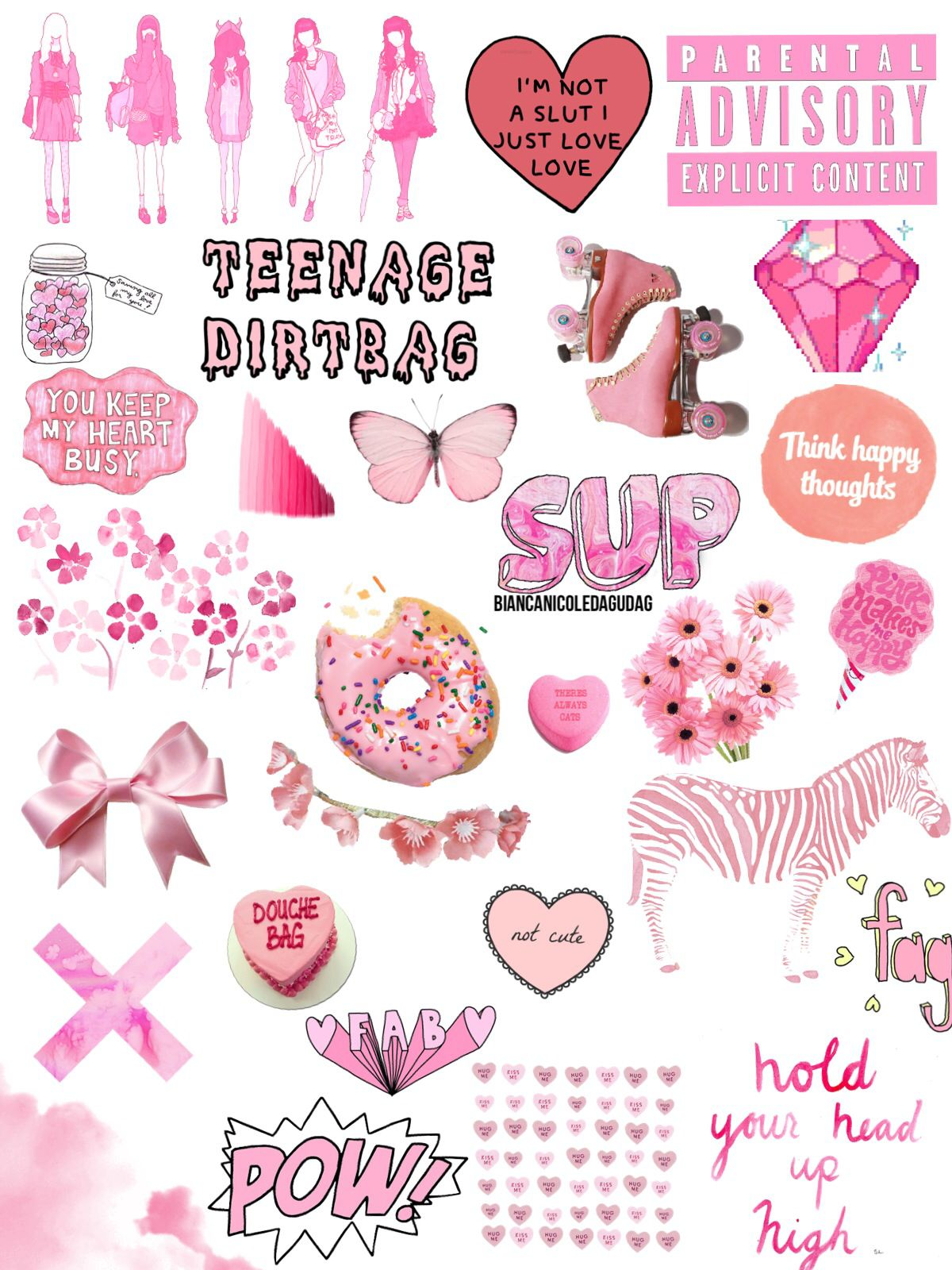 Pink Collage With Images Tumblr Stickers Cute Iphone