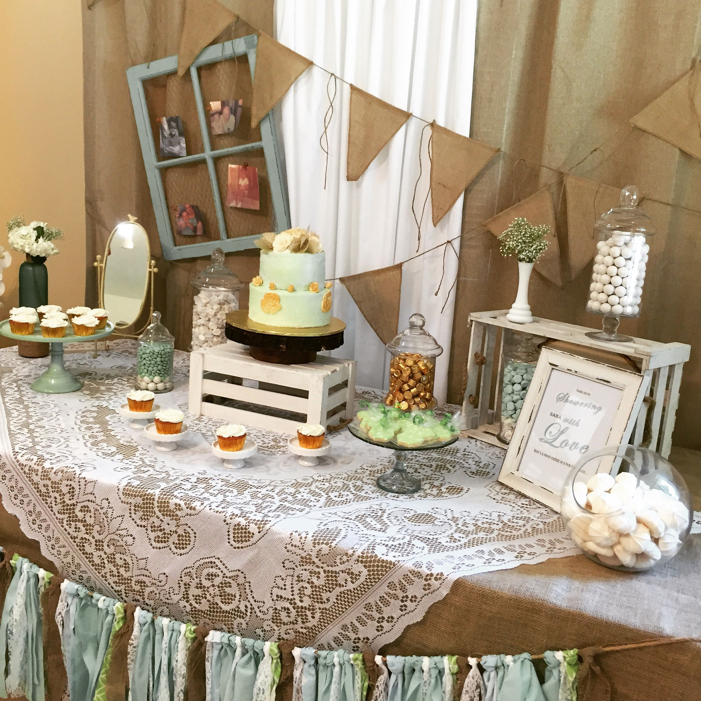 Mint Green Gold & Lace Vintage Baby Shower