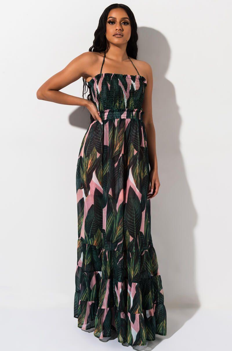 YOU GOT THE LOVE SMOCKED MAXI DRESS   Dresses, Halter maxi