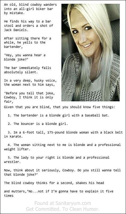 Sanitaryum Clean Funny Pics & Clean Humor • Blonde Joke