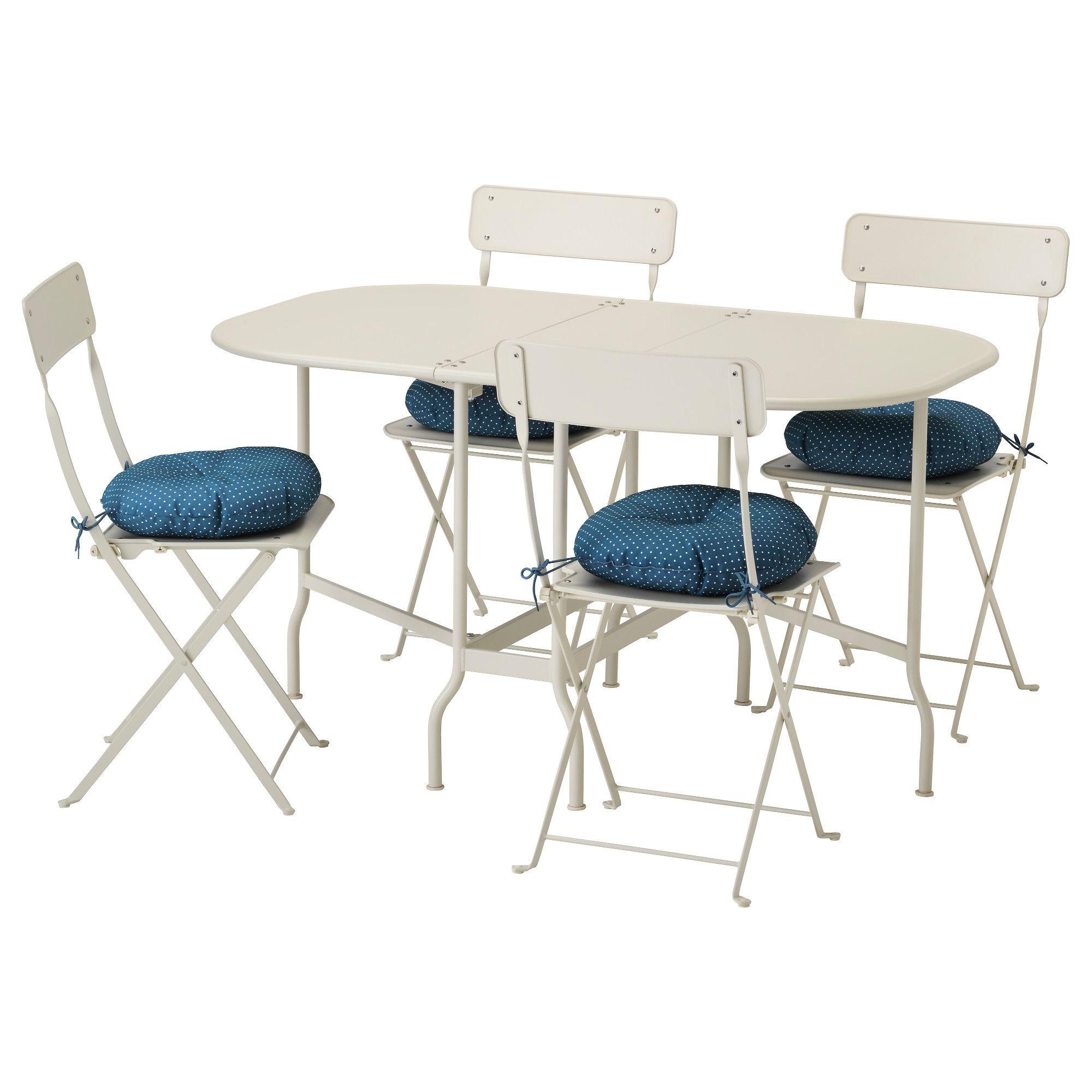 Saltholmen Tisch 4 Klappstuhle Aussen Beige Ytteron Blau