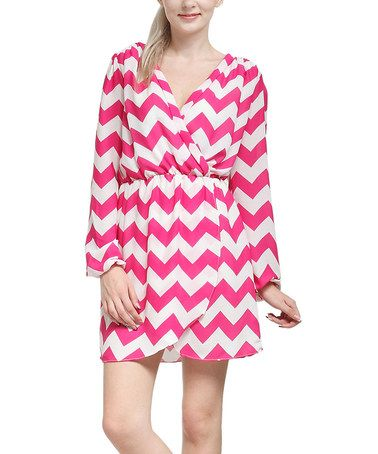 Another great find on #zulily! Pink Zigzag Faux Wrap Surplice Dress #zulilyfinds