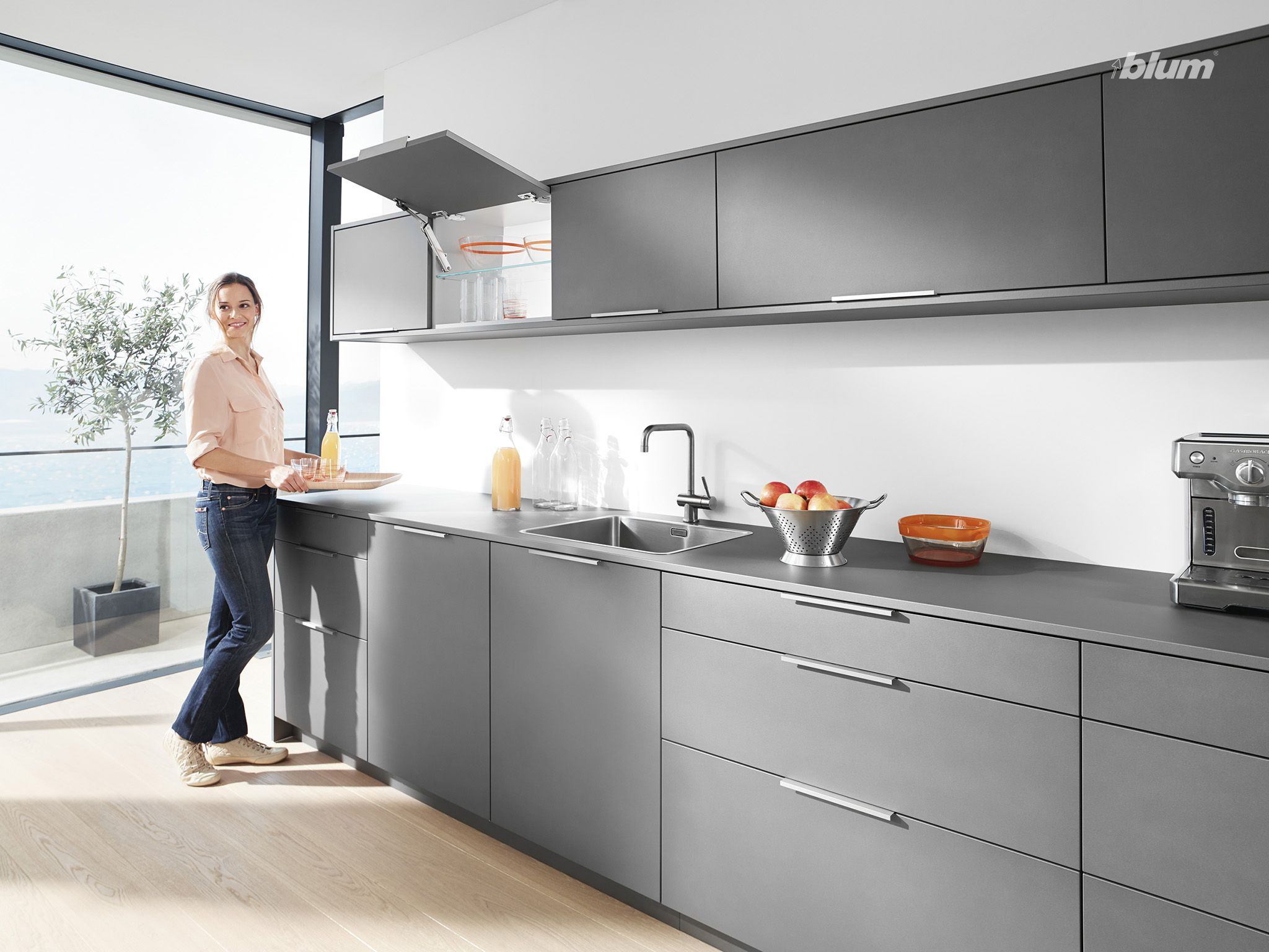 Modern Apartment Kitchen With Wall Mounted Overhead Cabinets