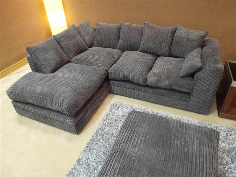 Brand New Dylan Jumbo Cord Dark Grey Fabric Corner Group Sofa Corner Sofa Fabric Dining Room Dining Room Sofa