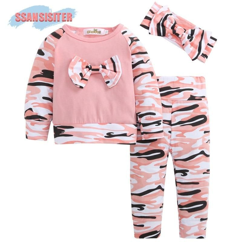 a9a69ea99 3PCS Set Cute Baby Girls Clothes Bow-knot Toddler Kids Tops+Strip ...