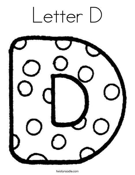 Letter D Coloring Page From TwistyNoodle
