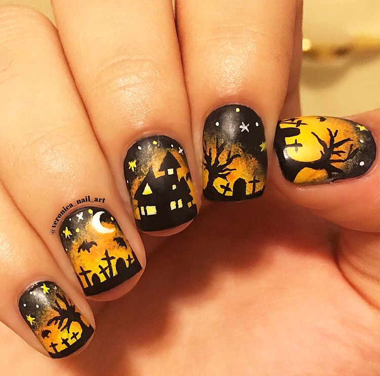 Haunted house graveyard nail art for Halloween | Halloween ...
