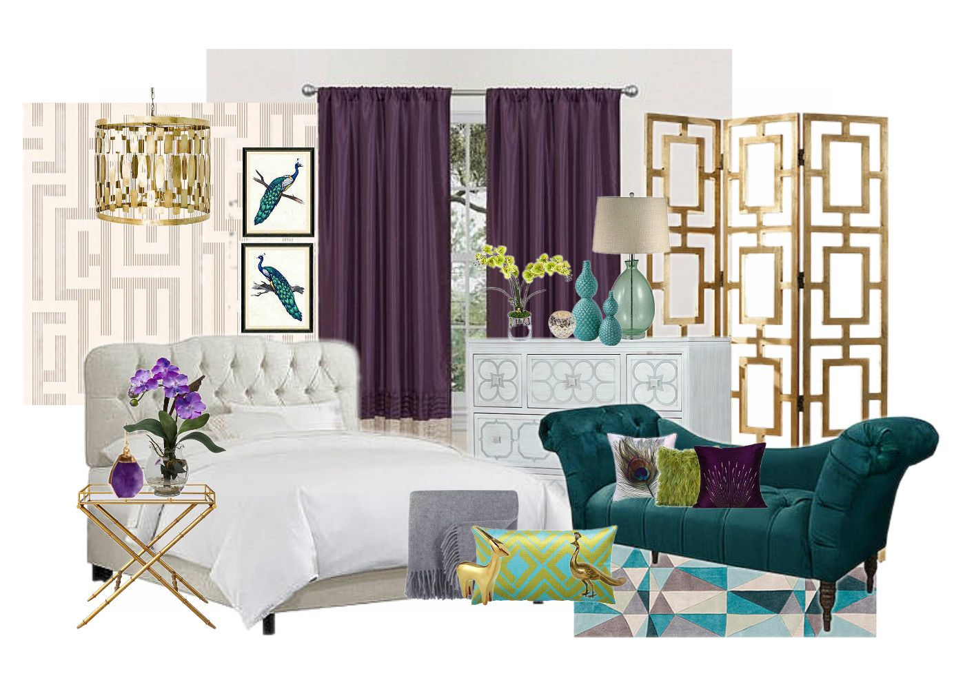 Peacock Inspired Bedroom