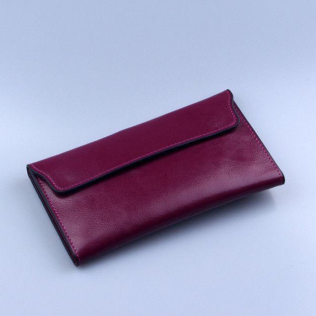 4ad71a172981 NIGEDU Brand Genuine Leather Women Wallet Long thin Purse Cowhide ...