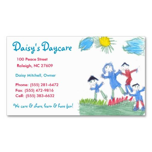 Daycare Business Card Babysitting Business Cards Pinterest