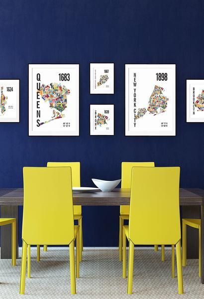 The New York City Map Poster includes each of the city's neighborhoods filled with a bright, bold pattern. Available framed and personalized. The perfect wall decor gift for any one that has a special connection to New York.