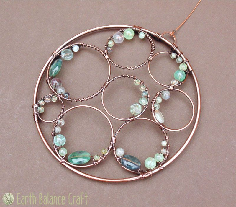 Handmade Copper Wire Work Ocean Crest Suncatcher With Watery Gemstones
