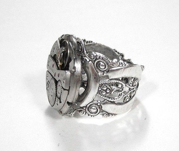 Steampunk Jewelry Mens Steampunk Ring, Vintage Ruby Jewel ...