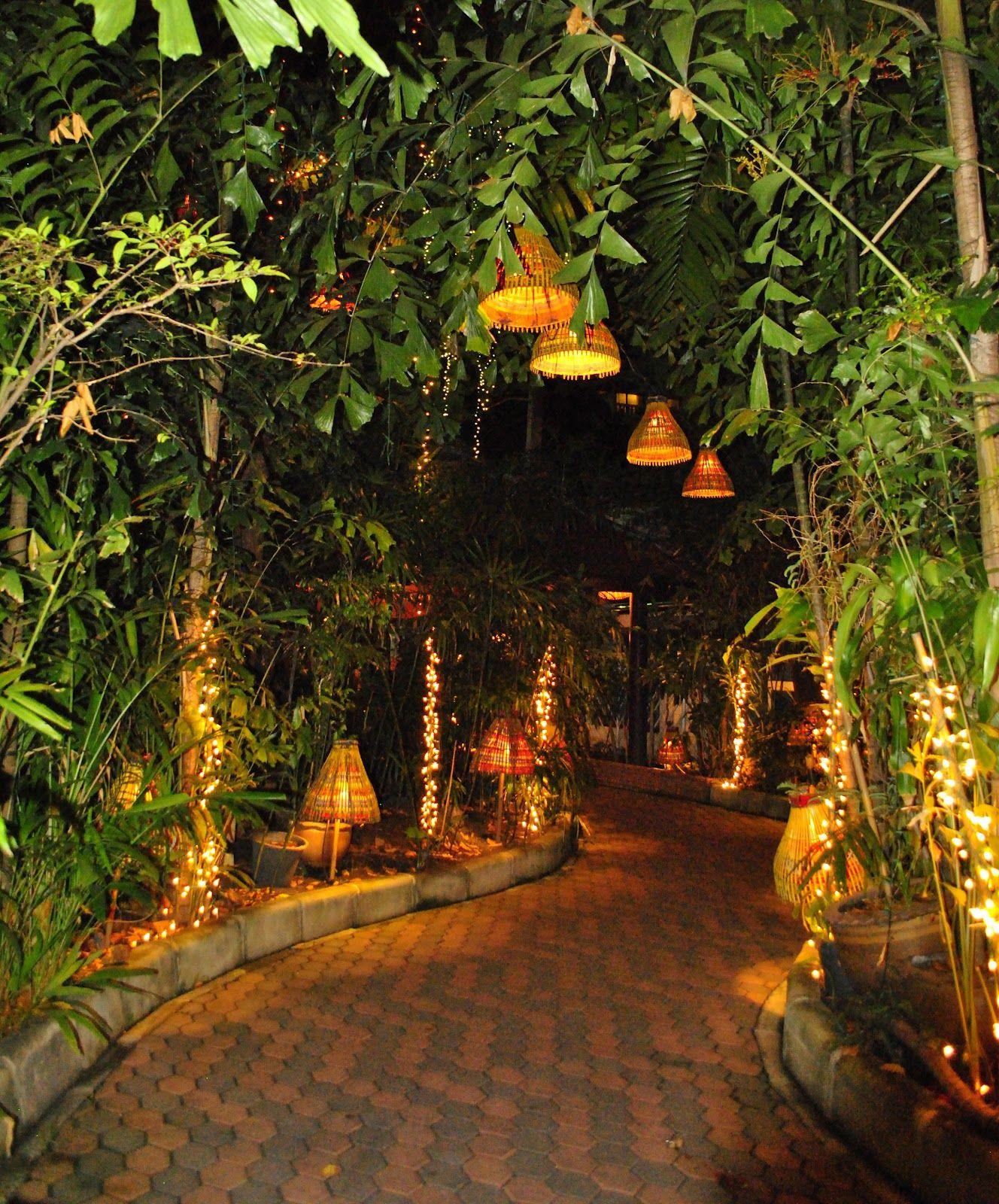 Enchanted garden pathway with lights Mystic garden