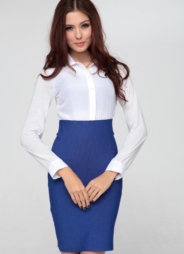 Blue Pencil Skirt and White Blouse  380dc3cc7d11