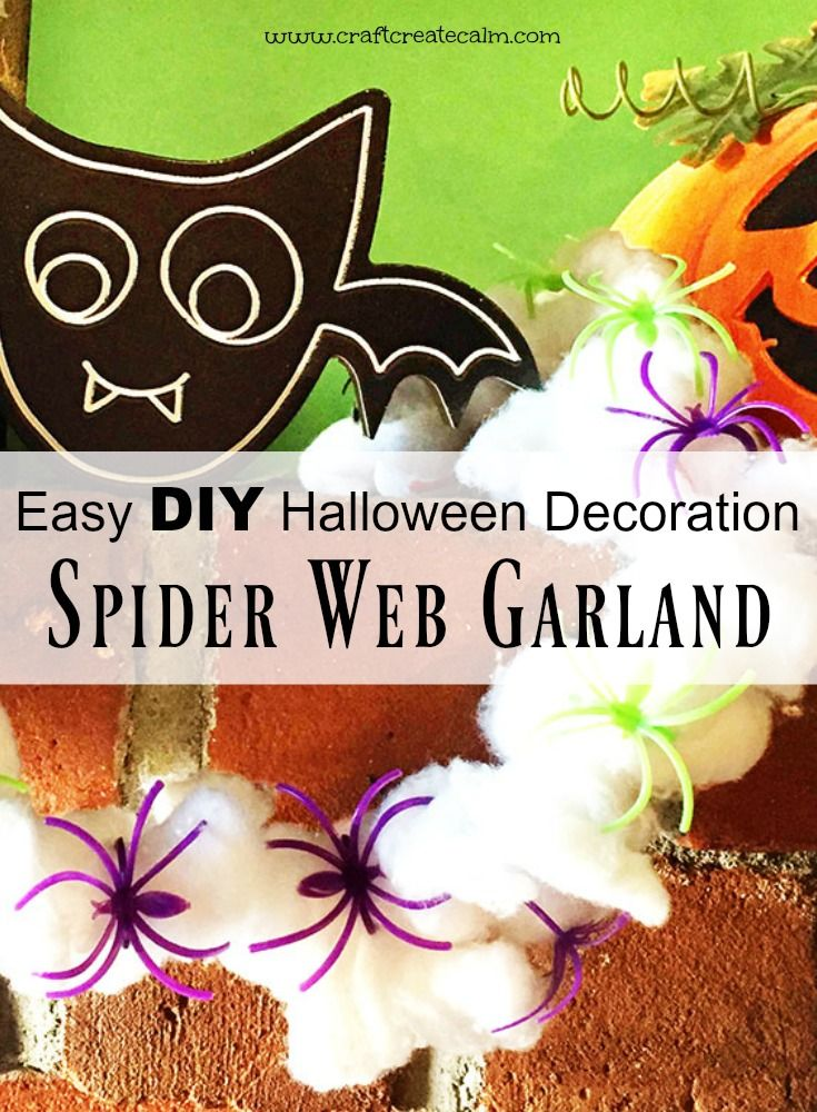 Fall spider craft for kids! Make a cute spider web garland as a DIY - spider web halloween decoration