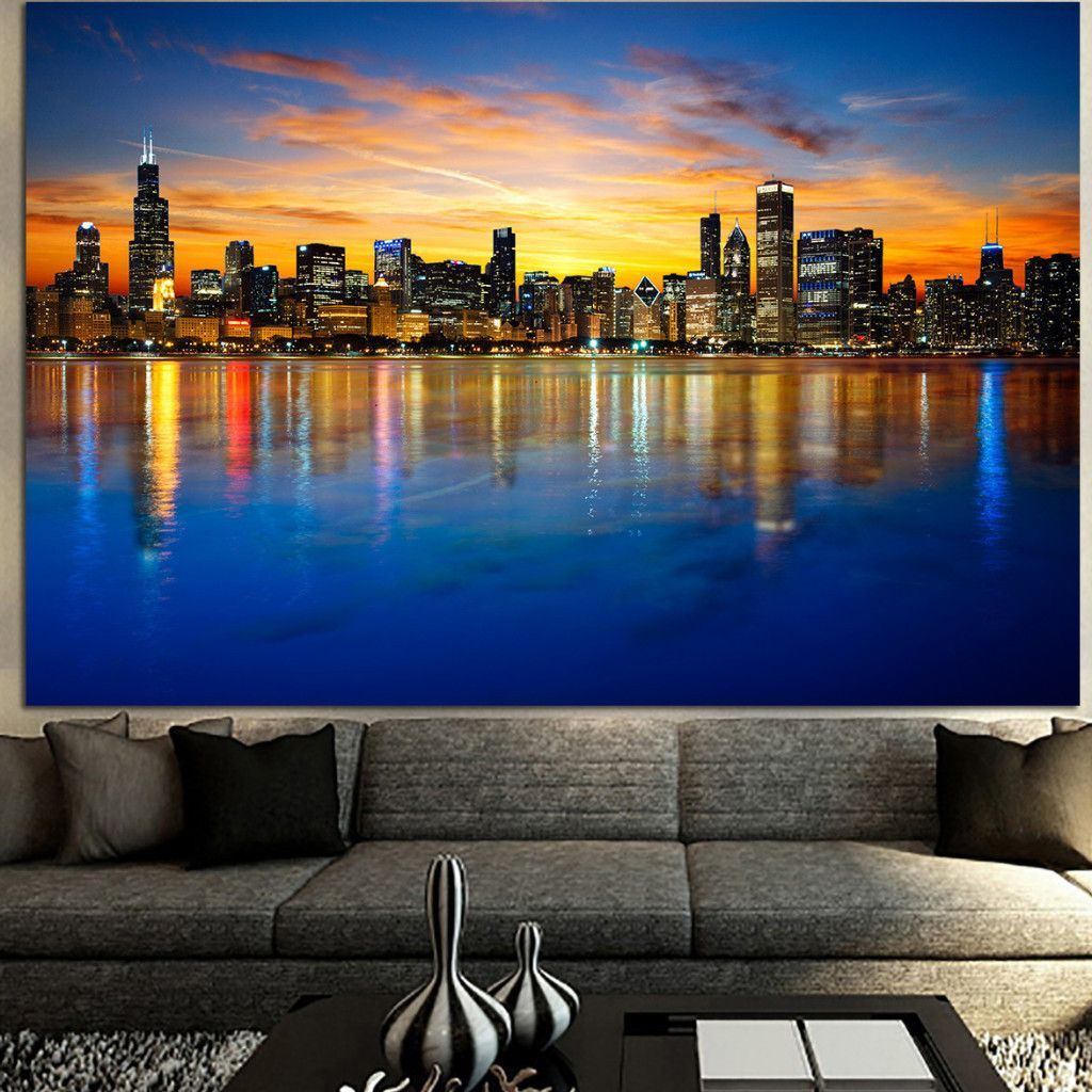 Lighting Chicago Il: Amazing Colorful Chicago Skyline Canvas In 2019