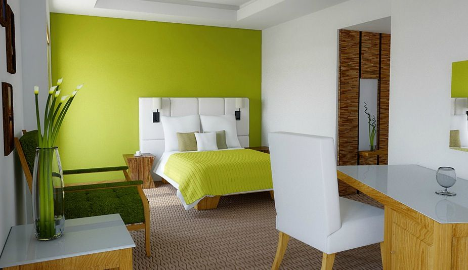 Cool Natural Green Lime White Modern Bedroom With Brown Rug Areas