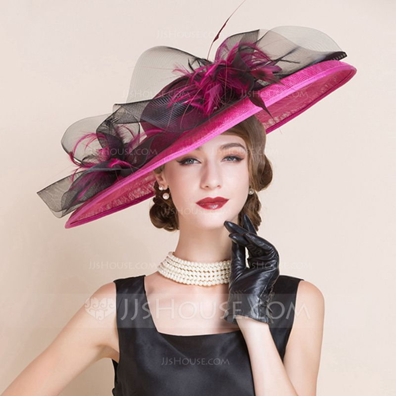 b13443a2e2a Ladies  Beautiful Summer Cambric Net Yarn With Feather Bowler Cloche Hat  (196075559) - Hats - JJsHouse