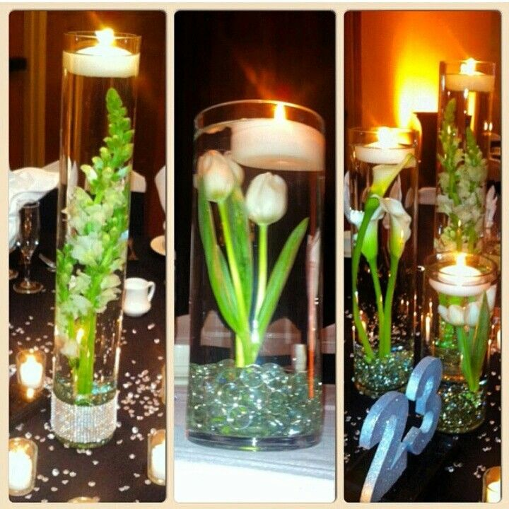 Floating Lily Centerpiece Ideas: Submerged Centerpieces. Snapdragons, Tulips, Calla Lilies