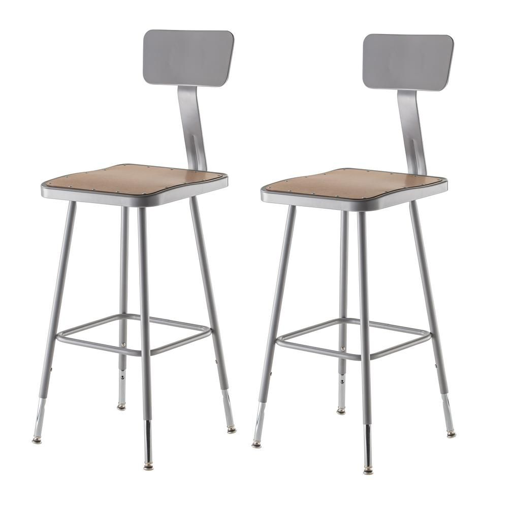 Phenomenal 25 In To 33 In Height Adjustable Grey Heavy Duty Square Ibusinesslaw Wood Chair Design Ideas Ibusinesslaworg