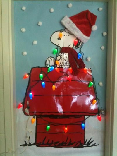 White Christmas Classroom Decorations : Classroom door a charlie brown christmas crafts