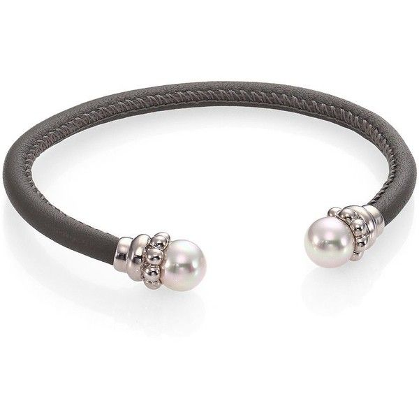 Majorica 8MM White Pearl & Leather Cuff Bracelet (£45) ❤ liked on Polyvore featuring jewelry, bracelets, apparel & accessories, white cuff bracelet, leather pearl jewelry, fake pearl jewelry, leather jewelry et cuff bangle bracelet