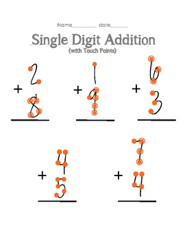Single Digit Addition With Touch Points Addition Worksheets Touch Math Additions