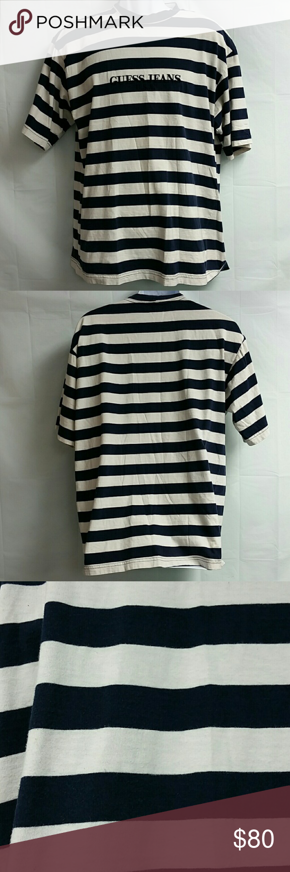 61e02af11291 Guess Jeans Black And White Striped Shirt