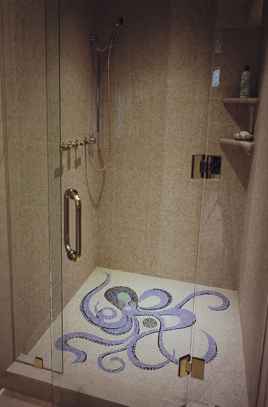 Mosaic liners art pattern mirrorred bathroom wall discount tiles - Octopus Mosaic Shower Floor By Appomattox Tile Art